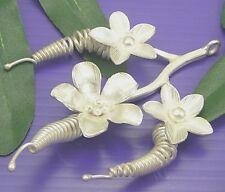 Handmade Triple Orchid Flower Pendant P217 Thai 98% Karen Hill Tribe Silver