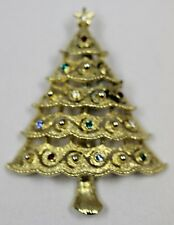 Rhinestone Christmas Tree Vintage Brooch Pin Signed JJ / J.J. Gold Tone