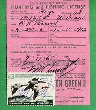 Washington 1965 Resident Hunting & Fishing License Rw32 Duck Stamp - 778
