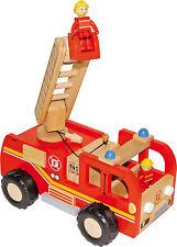 Feuerwehrlaster Feuerwehrauto aus Holz mit 2 Figuren Drehleiter Förderkorb ab 3J