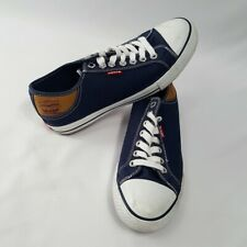 Mens Levis Casual Comfort Canvas Sneakers Dark Navy Blue Size 8
