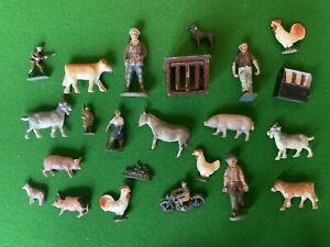 Vintage 1950's Lead Figures, Farm Animals & Soldiers Model Toys Job Lot Britains