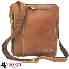 Small Messenger Leather Bag Tan Slim Lots of Zipped Pockets Visconti New 15056