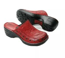 NEW Womens Size 9 M Born Red Marley Studded Leather Clogs Slip-On Comfort Shoes