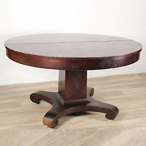 Antico tavolo allungabile da pranzo rotondo in legno di mogano epoca 800 America