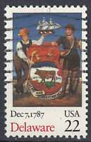 USA Briefmarke gestempelt 22c Delaware Dec 7 1787 / 557
