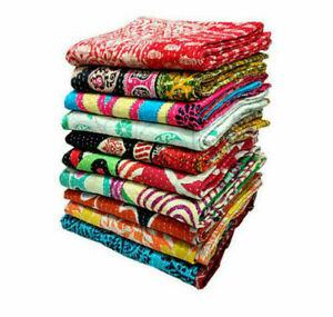 Vintage Kantha Quilt Handmade 5 PC Throw Indian Reversible Home Decor Blanket
