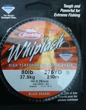 BERKLEY WHIPLASH 8Olb (37.8kg) HIGH PERFORMANCE SUPER BRAID - FREE UK P & P