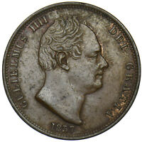 1837 HALFPENNY - WILLIAM IV BRITISH COPPER COIN - V NICE
