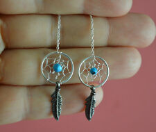 925 Sterling Silver Reconstructed Stones Dream Catcher Feather Thread Earrings