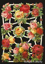 German Victorian Style Embossed Scrap Die Cut - Stunning Roses / Flowers  EF7393