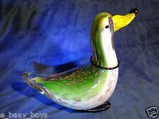ART GLASS DUCK RING NECK FOOTED 8in TALL 3+ LBS W/ GOLD AVENTURINE