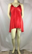 Vintage Victoria's Secret Slip Cherry Red Satin and Sheer Size Large