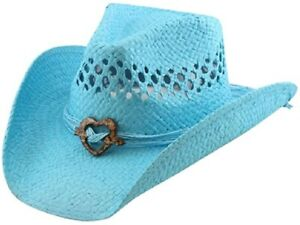 Vented Straw Cowboy Hat w/Wood Heart Band –Shapeable Cowgirl Western blue Heart