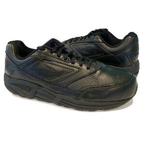 Brooks Addiction Walker Mens Sz 10 EE Wide Black Leather Walking Shoes Sneakers