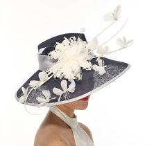 Church Kentucky Derby Carriage Wedding Tea Party Wide brim Sinamay Hat Navy blue
