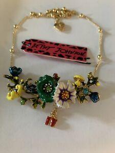 BETSEY JOHNSON BEAUTIFUL FLOWER & DANGLE RED LADYBUG NECKLACE-BJ84322