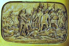 PANNEAU moulage SCULPTURE HAUT-RELIEF XIXè BATAILLE MOYEN-ÂGE cadre 26x21cm