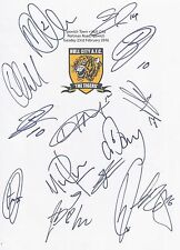 An A4 white card with the Hull City Badge. Signed by 13 players on 23.02.2016.
