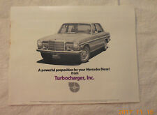 Turbochargers, Inc. turbo kit for Mercedes brochure 1977 + price lists, aux tank