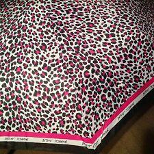 BETSEY JOHNSON Umbrella DESIGNER AUTO Compact Leopard PINK ROSE Stripes NEW