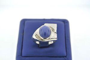 14k White Gold Star Sapphire & Diamond Men's Ring, 9.9gm, Size 9,S12689