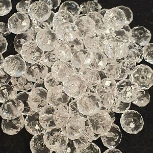 8mm Acrylic Faceted Rondelle Beads - Pack of 100 - Jewellery Making