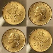 20 LIRE QUERCIA 1957 VARIANTE GAMBO LARGO IN FIOR DI CONIO ITALY QUALITY