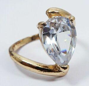 Natural 5.17 Grm Cambodian Solitare Pear Cut White Zircon Metal Ring Gemstone