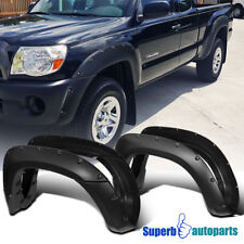 fit 05-11 Toyota Tacoma 6' Bed 4PC Black JDM Sporty Pocket Rivet Fender Flares