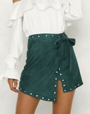 NEW PEPPERMAYO SEXY FOREST GREEN FAUX SUEDE WRAP MINI SKIRT 8 10