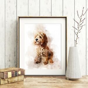 Cockapoo Dog Wall Art, Watercolour Print, A4, *UNFRAMED*, Fab Pet Picture Gift