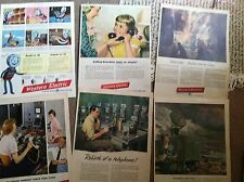 """50 1940s-50s WESTERN ELECTRIC TELEPHONE AD all 10x14"""" SIZE  20c EA great art"""