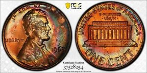 1965 PCGS MS65RB Gem Colorful Toned Lincoln Cent ONLY 6 GRADED HIGHER WORLDWIDE