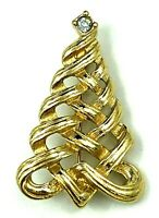Vintage Avon Christmas Tree Pin / Brooch Rhinestone on top of Tree - Signed