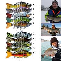 10PCS Fishing Lure Fish Swimbait Tackle Hook Multi Jointed Minnow 7 Segment