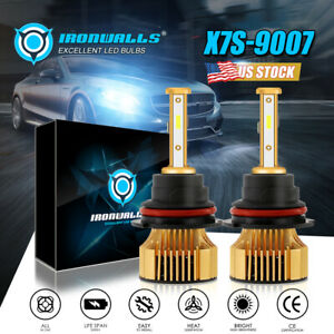 H13 9008 2500W 375000LM 4-sides LED Headlight Bulb Kit Hi/Lo Beam 6000K White