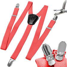 New Y back Kid's Boy's Suspender Braces adjustable strap clip on casual Coral