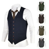 MENS WOOL BLEND HERRINGBONE TWEED WAISTCOAT VEST GILET - ALL SIZES JG