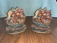 Vintage PAIR of BOOKENDS CAST IRON SPANISH SAILING SHIPS 615 Nautical Flags