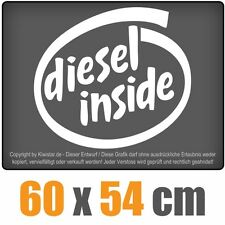 Diesel inside  chf0096 weiß 60 x 54 cm Heckscheibenaufkleber  Auto Car  Scheibe