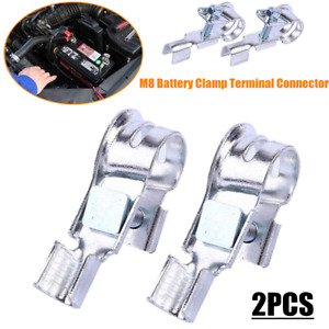 2×M8 Car Replacement Battery Clamp Cable Wire Terminal Connector Head 17mm-19mm