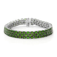 "Platinum Over 925 Sterling Silver Diopside Triple Row Bracelet Size 6.5"" Ct 21.4"