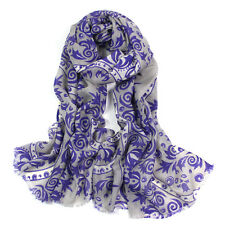 100% pura lana woman's Pashmina Soft Wrap Stola Sciarpa Grigio & Porpora UKSeller