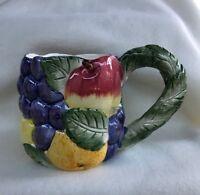 """FITZ & FLOYD CERAMIC """"TROPICAL FRUIT"""" COFFE CUP MUG VINTAGE"""