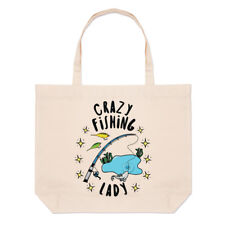 Crazy Fishing Lady Stars Large Beach Tote Bag - Funny Fisherman