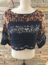 Anthropologie Hand Knit By Dollie Cropped Sweater - Navy Blue - Medium
