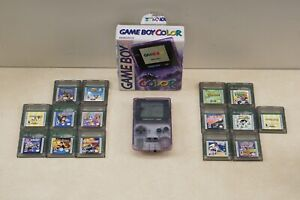 Tested Nintendo Gameboy Color Atomic Purple Clear WITH Box and 15 Games