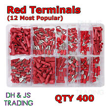 Assorted Box of Red Electrical Terminals Terminal Butt Ring Fork Spade Tab