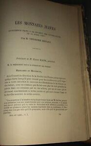 JUDAÏCA.NUMISMATIQUE. LES MONNAIES JUIVES.REINACH.1887.